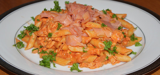 Salmon with Penne & Vodka Cream Sauce